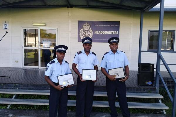 The three local police officers are now certified to  maintain and repair all Glock firearms in the RSIPF possession.
