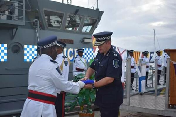 Police Commissioner Varley at the decommissioning ceremony of the RSIPV LATA at the Maritime Aola Base in Honiara.