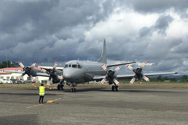 Royal New Zealand Air Force arriving at Honiara International Airport, Monday 13 July 2020 to begin the three days of aerial surveillance over the Solomon Islands EEZ.