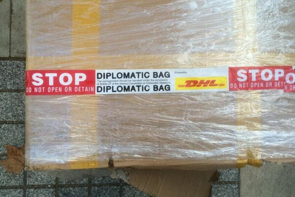 "An example of what a diplomatic bag looks like - the ""bag"" has diplomatic immunity from search or seizure, as codified in Article 27 of the 1961 Vienna Convention on Diplomatic Relations."