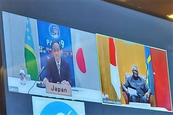 Hon. Prime Minister Suga Yoshihide of Japan and Prime Minister, Hon. Manasseh Sogavare, during the virtual bilateral meeting held on 1 July 2021.