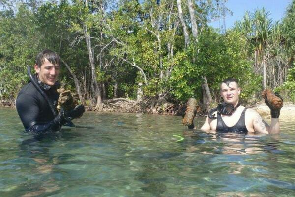 Divers from the HMNZS Mamawanui, a diving support vessel, joined forces with the Canadian Defence Force's Explosive Ordnance Disposal unit to recover the bombs in an operation dubbed Operation Render Safe 2016.