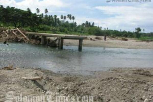The damaged bridge at Tamboko is among other bridges of West Guadalcanal that were destroyed during Cyclone Ului earlier in the year.
