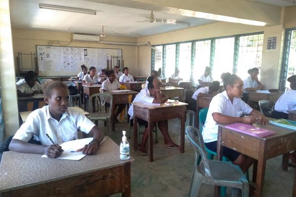 One such school adjusting to such measures is Saint Nicholas. School principal, John Lengi says social distancing is practiced in both secondary and primary classes.