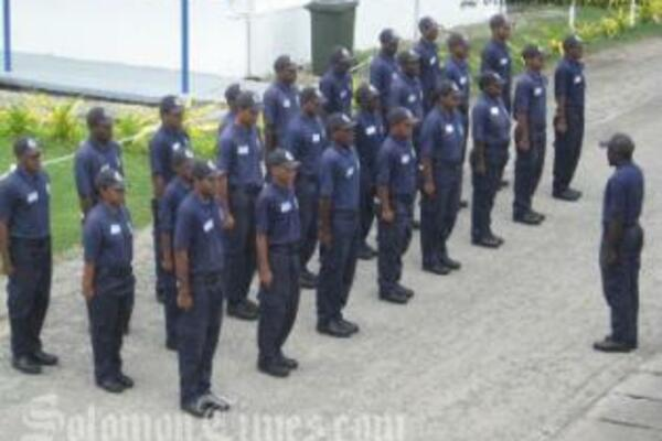 The Police recruits during their march drills at the Police Head Quarters.