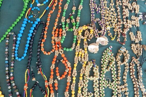 Some of the colorful crafts on sale at Mrs. Sasali's stall at the central market in Honiara.