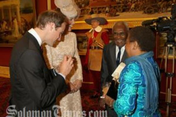 The Duke and Duchess of Cambridge meets with Sir Frank and Lady Kabui during the Jubilee Luncheon.