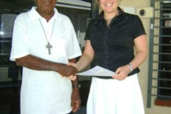 Third Secretary, Amanda Davis, presented the latest cheque to Rev Johnson Bana on Monday, for a water tank for Tasia Training Centre in Isabel, which runs technical training courses for youth.