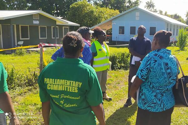 Parliamentary Health Committee site visit to the quarantine centres at Nila, Shortland Islands in the Western Province.