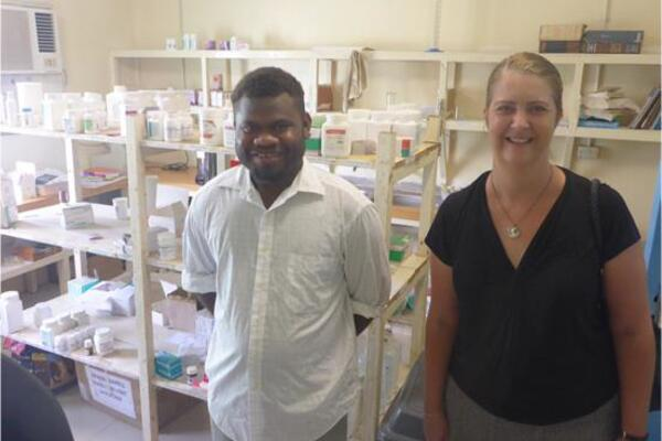 Pharmacist Jakob with Counsellor Melissa Stutsel at the Kirakira Hospital Pharmacy.