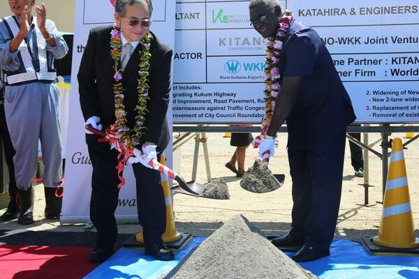 Prime Minister Manasseh Sogavare and Japanese Ambassador to Solomon Islands Kenichi Kimiya launched the construction phase of the Kukum Highway Project after the recent conclusion of the Preparatory phase.