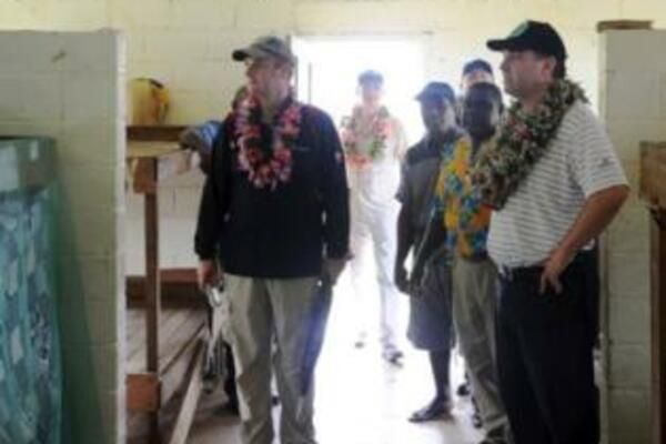 Hon Richard Marles MP and others inspect the AusAID-funded refurbishments of dormitories at Kukudu Adventist High School, Kukudu village, Kolombangara, Western Province, Solomon Islands.