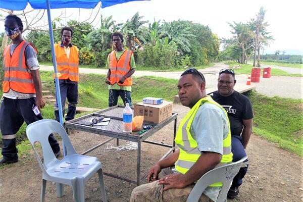 Harris Giusaga, GPPOL's Tetere Estate Manager, and GPPOL officers testing their procedures at the plains.