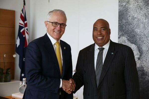 Australian Prime Minister Hon Malcolm Turnbull, left, welcomes Solomon Islands new High Commissioner to Australia, His Excellency Colin David Beck to Australia.