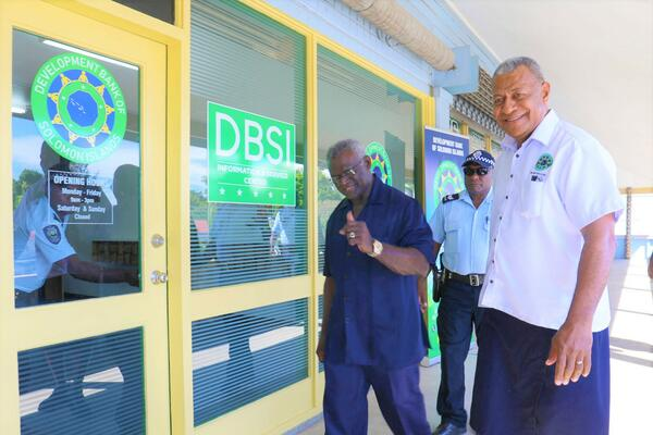 A satisfied PM Sogavare gives a thumbs up to the camera as he is about to enter into the Service Center of the new DBSI.