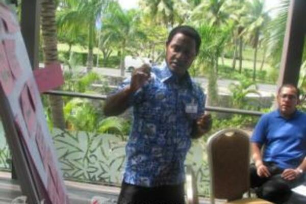 Mr. Rex Tara, from the Solomon Islands, is also one of the facilitators in the Peace Building workshop.