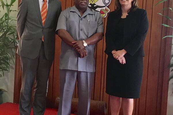 His Excellency Roderick Brazier, Australian High Commissioner, Hon. Rick Houenipwela, Prime Minister of Solomon Islands and Deputy Secretary Penny Williams, Department of Foreign Affairs and Trade.