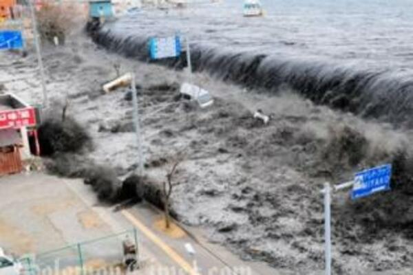 The devastating tsunami was triggered by a massive earthquake measuring 8.9 on the Richter scale.