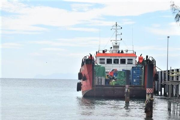 The Intercepted landing craft anchored at the Police Maritime base during the  lockdown.