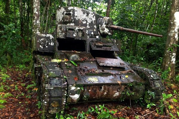 A World War Two American Stuart tank lies in the same spot where it was immobilised by Japanese forces on Kohinggo Island in 1943.