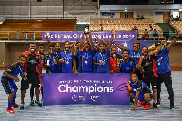 Kooline celebrate winning the first ever OFC Futsal Champions League.