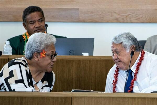 Fiame Naomi Mata'afa and Tuilaepa Dr. Sai'lele Malielegaoi.