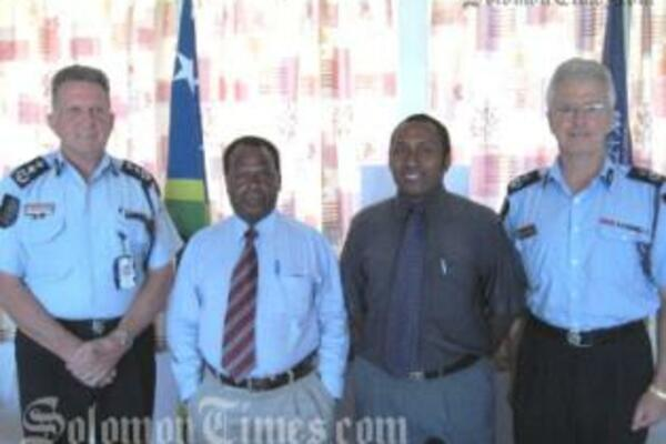 RAMSI PPF Commander, Denis McDermott, Permanent Secretary of the Ministry of Police, Henry Pika, PS (Special Duties), Ronald Unusi and Police Commissioner Peter Marshall.