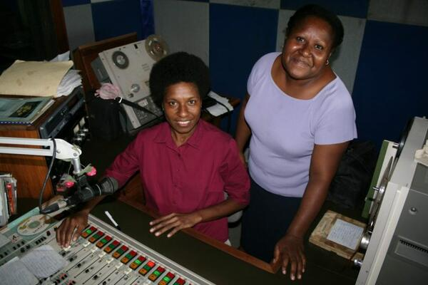 Staff in the Lae studios of the National Broadcasting Corporation of Papua New Guinea.