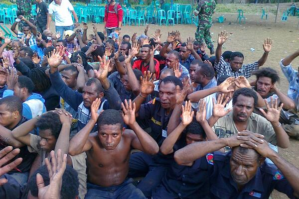 Papua protestors under arrest by Indonesia authorities.