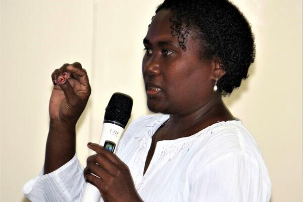 Chair of the Trade Dispute Panel (TDP), Ms Natalie Kesaka explaining the role of TDP to members of the business community during the Information Session hosted by SICCI.