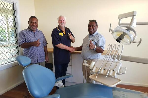 Solomon Islands director of dental services Dr Ellison Vane, Dr David Goldsmith and Solomon Islands National Referral Hospital medical superintendent Dr John Hue in one of the new dental surgeries at the hospital.