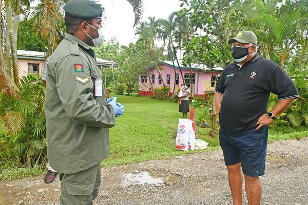 Prime Minister, Josaia Voreqe Bainimarama visiting the Food Ration Distribution Centre at the Naqali containment area in Nausori.