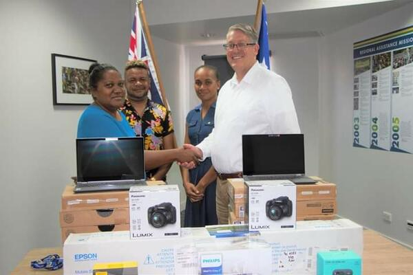 MASI President receives the funded equipments from Australian High Commission Political Counsellor Kevin Playford.