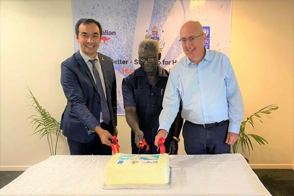 (L-R) UNDP Country Manager for the Solomon Islands, Berdi Berdiyev, the Prime Minister for the Solomon Islands, Honourable Manasseh Sogavare and the Australian High Commissioner to Solomon Islands, Dr. Lachlan Strahan.