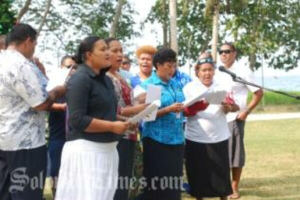 The RAMSI Pacific Choir, practising for Saturday.