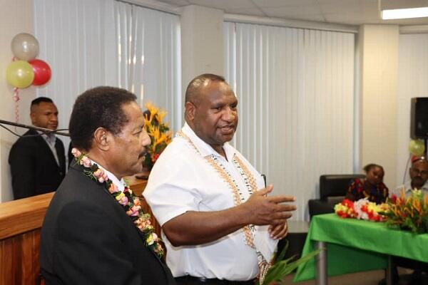 The Late Dr John Balavu with the Prime Minister of PNG James Marape during his visit to Honiara.