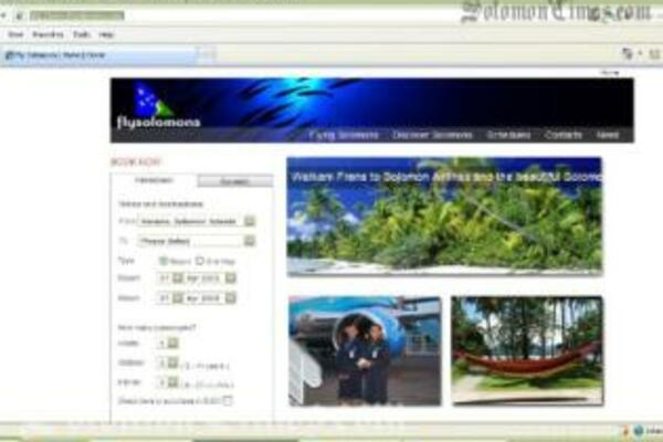 The new look Solomon Airlines website and online booking tool.