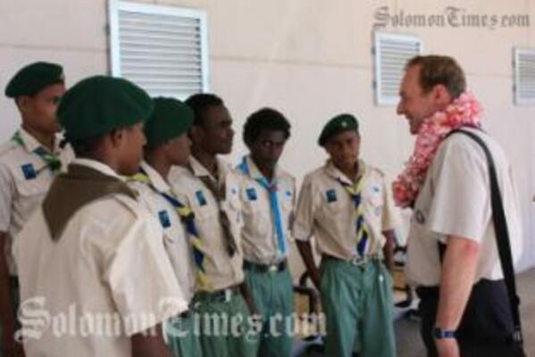 International Scout Commissioner, Mr Nigel Hailey, during his arrival last week.