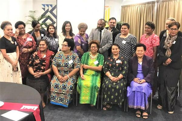 Women leaders speak out on violence against women in politics at a workshop in Fiji, March 2021.