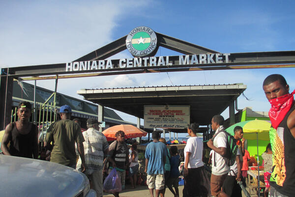 The Honiara Central Market where news of a tsunami threat was said to have started causing panic.
