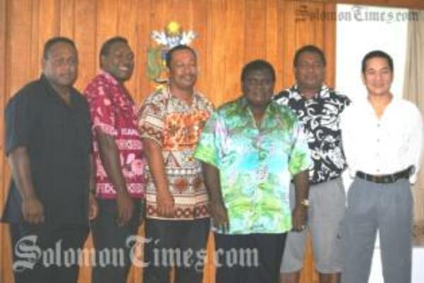 From L-R, DPM Hon. Maelanga, Hon. Garu, Hon. Mua, PM Hon. Danny Philip, Hon. Ghiro and Hon. Namson Tran.
