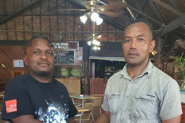 Junior Wale of Malaita Crusaders Rugby Club and Calwyn Tengemoana of Eastern Highlanders Rugby, shook hands after yesterday's successful meeting to finalise all arrangements for the 'Warriors Clash'.