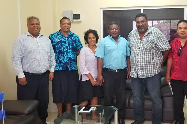 SIRUF delegation with Hon. Chris Laore (3rd R) and his Permanent Secretary Jeffrey Deve (far L).