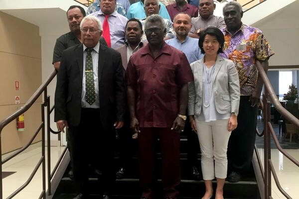 Speaker of the National Parliament Honourable Ajilon Casper Nasiu,  Solomon Islands Prime Minister, Hon. Manasseh Sogavare and UNDP Solomon Islands Country Director, Azusa Kubota among Members of Parliament and delegates to the training.