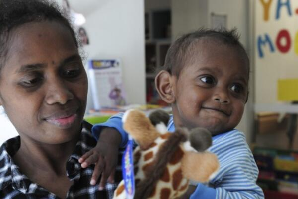 Charlie Rao, 22 months, from the Solomon Islands, with his mother Mary Ribe, before his life-changing surgery at The Canberra Hospital.