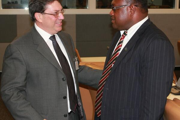 DPM Maelanga and Minister Bruno Rodriquez at the UN Headquarters in New York.