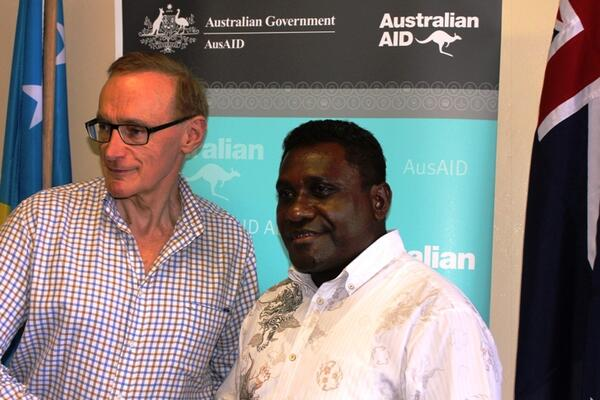 Australia's Foreign Minister Bob Carr with Solomon Islands Prime Minister Gordon Darcy Lilo.