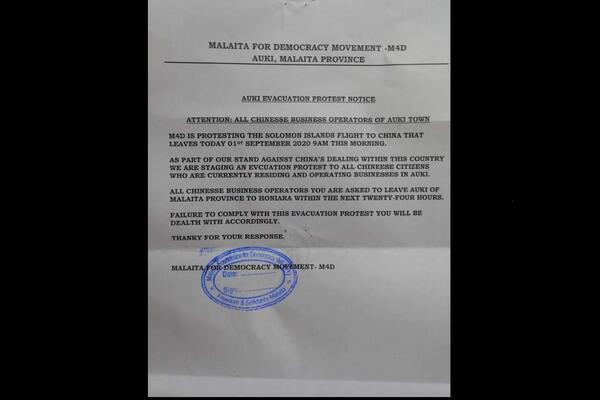 The notice says M4D is protesting the Solomon Islands flight to China that left yesterday.