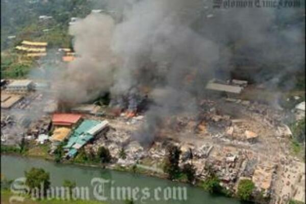 Burning of China Town in Honiara, April 2006.