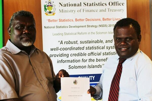 Government Statistician and Census Commissioner, Douglas Kimi (L) and Permanent Secretary for the Ministry of Finance and Treasury, McKinnie Dentana.